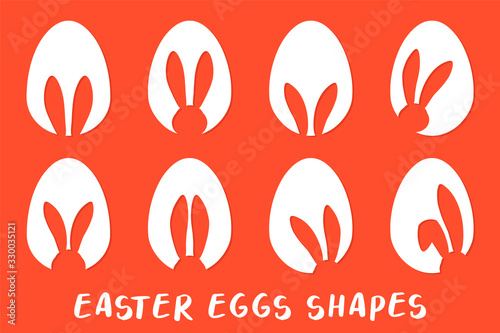 Easter eggs shapes with bunny ears silhouette - traditional symbol of holiday, big set Fototapete