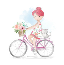 Cute Cartoon Girl With Little Cat Riding Bicycle Illustration