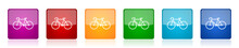 Bicycle Icon Set, Colorful Squ...