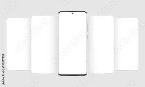 Photo Modern mobile phone mockup with blank app screens