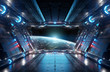 Leinwandbild Motiv Blue and red futuristic spaceship interior with window view on planet Earth 3d rendering
