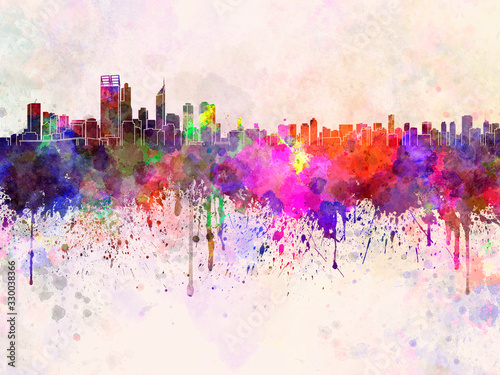Canvastavla Perth skyline in watercolor background