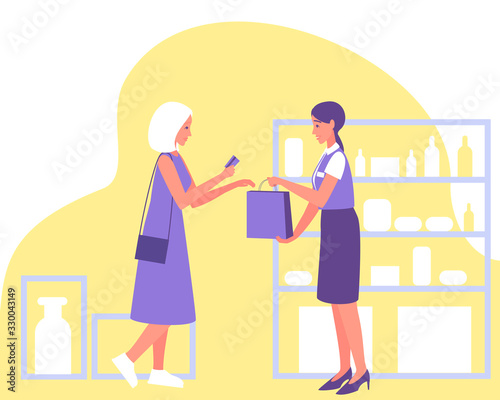 Fototapety, obrazy: A customer pays with a credit card at a cosmetic store. Modern illustration for marketing design. Grocery shopping concept. Grocery store. Retail concept. Credit card. Vector flat illustration.