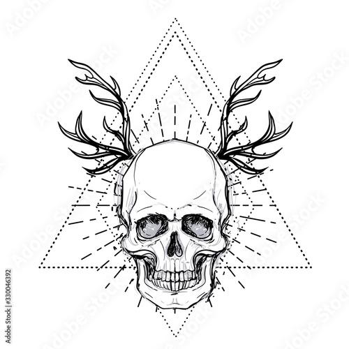 Photo Human skull over sacred geometry symbol