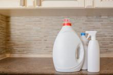 Close Up Bottle Of Liquid Detergent Powder Wash