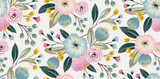 Wektorowa ilustracja bezszwowy kwiecisty wzór z wiosennymi kwiatami. Piękny kwiatowy tło w słodkich kolorach - 330051331