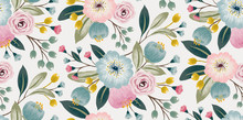 Vector Illustration Of A Seamless Floral Pattern With Spring Flowers. Lovely Floral Background In Sweet Colors