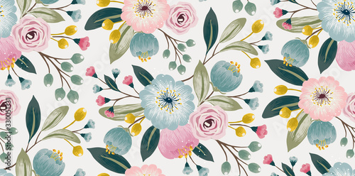 Obraz  Vector illustration of a seamless floral pattern with spring flowers. Lovely floral background in sweet colors  - fototapety do salonu