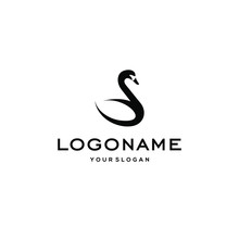 Swan Logo,goose Or Duck Icon Design Vector In Trendy And Abstract Luxury Line Outline Style