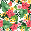 canvas print picture - Seamless floral pattern of tropical flowers and leaves. Botanical wallpaper illustration in Hawaiian style