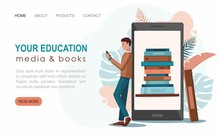 Online Reading Concept. Young ...