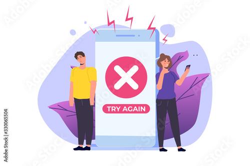 Payment error info message on smartphone. Customer cross marks failure. illustration.