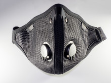 Air Filtration Mesh Mask With Active Carbon Filters. Black Medical Mask. Face Mask Protection Against Pollution, Virus, Flu And Coronavirus. Health Care And Surgical Concept
