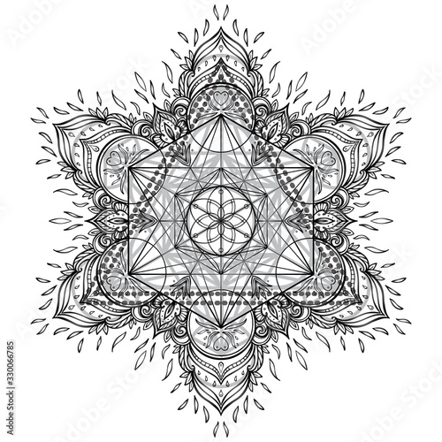 Mandala. Beautiful vintage round pattern. Hand drawn abstract background. Dec...