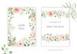 Wedding cards design. Blush pink peony, rose, dahlia flowers, green leaves, frames. Vector illustration. Romantic floral arrangements. Invitation template background
