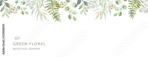 Delicate border of the forest green leaves, white background Canvas Print
