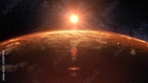 Photo Mars planet sunset sunrise in the space 3d illustration