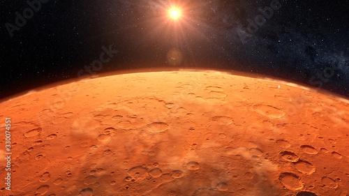 Fotografie, Obraz Mars planet sunset sunrise in the space 3d illustration