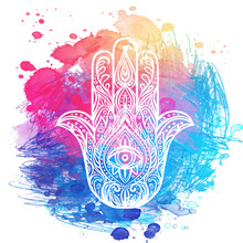 Ornate Hand Drawn Hamsa. Popular Arabic And Jewish Amulet. Vector Illustration Over Colorful Watercolor Splash.