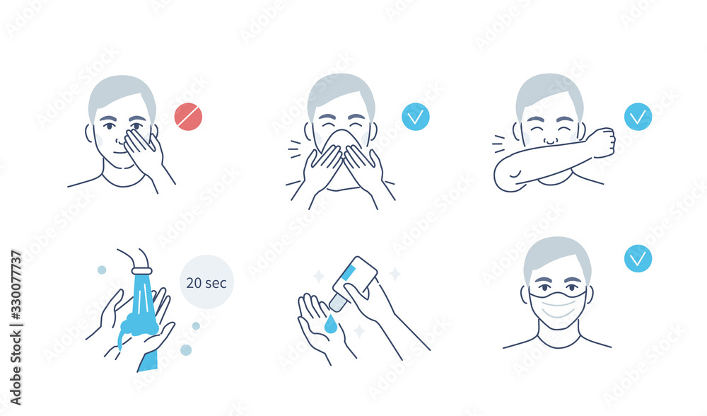 Fototapeta Infographic Steps How Prevent Respiratory Diseases. Correct Couching and Sneezing, Cleaning Hands with Antiseptic Gel, Wearing Mask. Virus and Infection prevention. Flat Cartoon Vector Illustration.