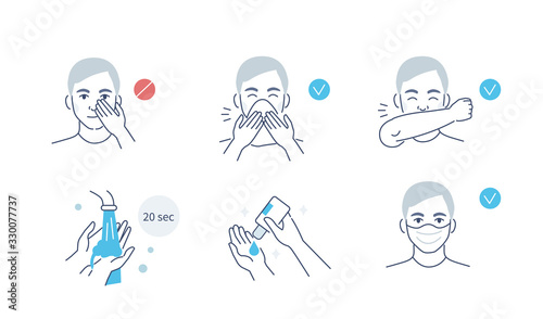 Infographic Steps How Prevent Respiratory Diseases. Correct Couching and Sneezing, Cleaning Hands with Antiseptic Gel, Wearing Mask. Virus and Infection prevention. Flat Cartoon Vector Illustration. - 330077737