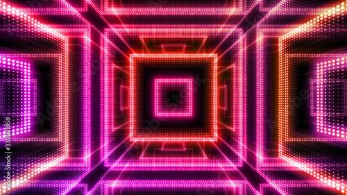 Cuadros en Lienzo Disco club space illumination neon light room floor wall 3D illustration abstrac