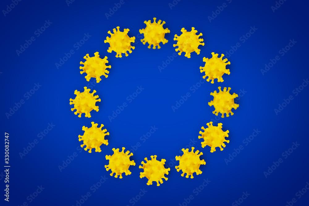 Fototapeta Corona Virus symbol blue yellow european union EU flag europe background. Cornavirus COVID-19 global  outbreak pandemic epidemic medical concept.