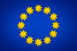 Leinwanddruck Bild - Corona Virus symbol blue yellow european union EU flag europe background. Cornavirus COVID-19 global  outbreak pandemic epidemic medical concept.