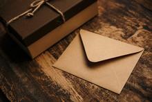 Brown Gift Box And Vintage Env...