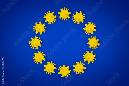 fototapeta na szkło Corona Virus symbol blue yellow european union EU flag europe background. Cornavirus COVID-19 global outbreak pandemic epidemic medical concept.