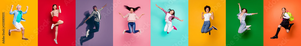 Fototapeta Photo collage of eight cheerful glad optimistic carefree feeling great old preteen multiethnic guy millennial people jumping high up achieving victory triumph isolated over multicolored background