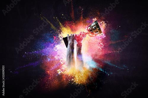 fototapeta na drzwi i meble Hands holding champion cup on colourful splashes background. Mixed media