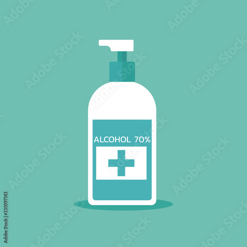 Photo alcohol liquid pump bottle for hygiene, medical use, vector flat illustration