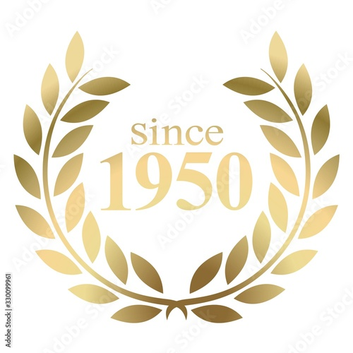 Photo Since year 1950  gold laurel wreath vector isolated on a white background