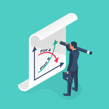 Plan A And Plan B On Financial Chart. Graph On Blackboard. Businessman Passes To Second Option. Vector Illustration Isometric Design. Up And Down Arrow As Symbol Of Success Solution And Failure.