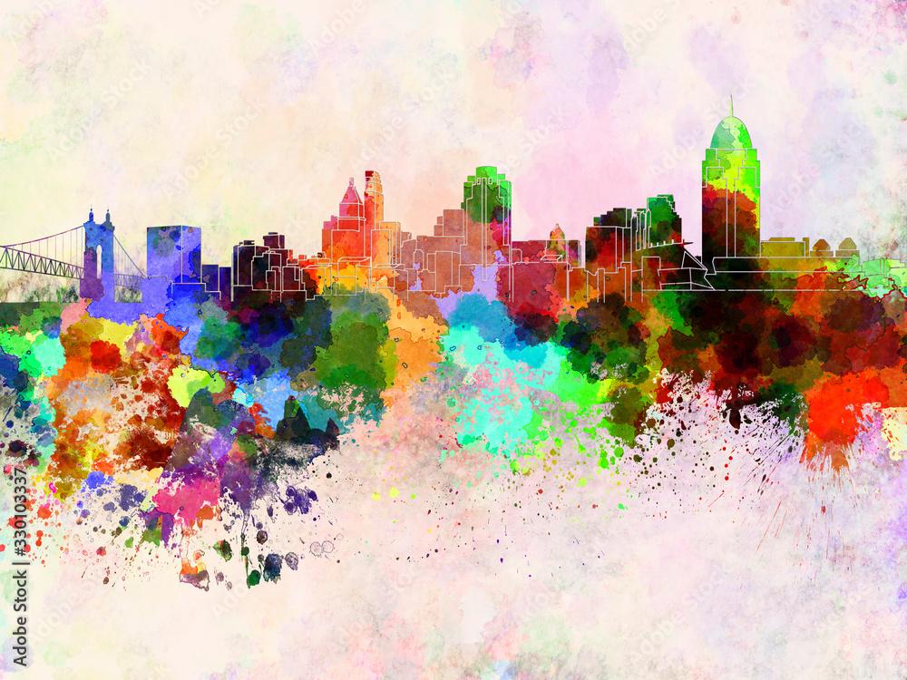 Cincinnati skyline in watercolor background <span>plik: #330103337 | autor: paulrommer</span>