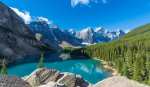 Moraine Lake In Banff National Park In The Canadian Rockies Near Lake Louise, Alberta, Canada