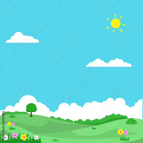 Obraz Spring landscape vector illustration with flowers, green field and bright sky suitable for background or illustration  - fototapety do salonu