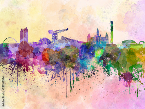 Glasgow skyline in watercolor background