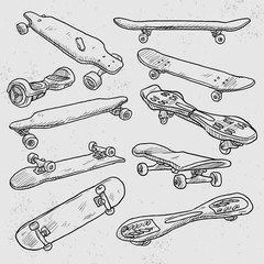 Sketch-Boards! Vector sketches of dif. skateboards