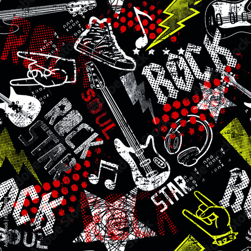 Tapety do pokoju młodzieżowego  rock-star-grunge-rock-music-pattern-with-guitar-cool-background-for-textiles-wrapping-paper