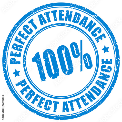 100 percent perfect attendance stamp