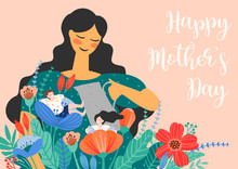 Happy Mothers Day. Vector Illustration With Women And Children In Flowers.