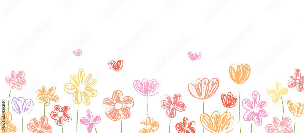 Fototapeta Draw vector banner beauty flower for spring season.