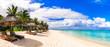 Leinwandbild Motiv Best tropical beach destination - paradise island Mauritius, Le Morne beach
