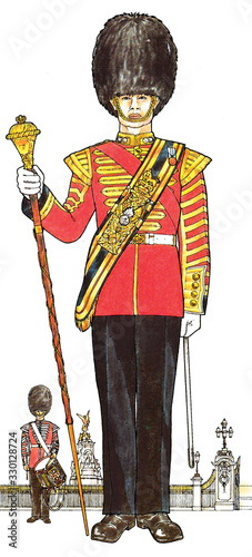 Drum Major of the Grenadier Guards in Guard Order Canvas Print