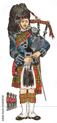 Photo Pipe Major of the Scots Guards in Full-dress