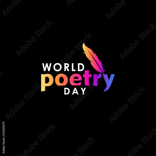 World Poetry Day Vector For Banner Print Wall mural