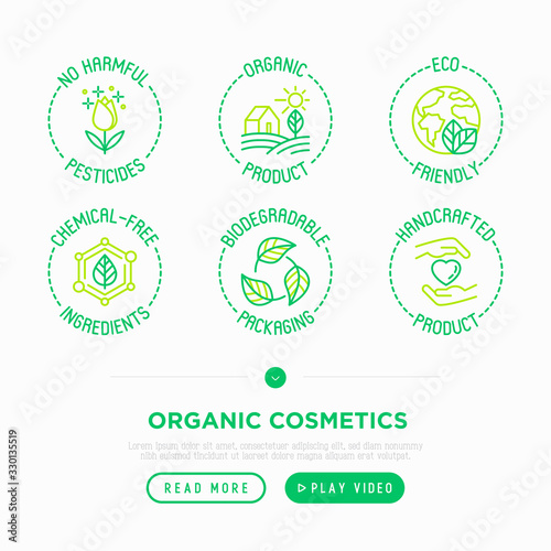 Obraz Organic cosmetics thin line icons set. Signs: no harmful pesticides, organic product, eco friendly, chemical-free ingredients, biodegradable packaging, handcrafted product. Modern vector illustration. - fototapety do salonu