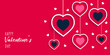 Valentine's day background with hanging hearts and typography - Vector illustration